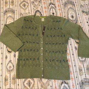 Olive Green Cardigan Sweater